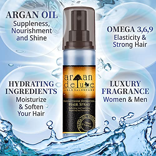 Argan Deluxe 2-Phasen-Feuchtigkeitsspray in Friseur-Qualität 120 ml - hochwirksam entwirrende Pflegeformel für Geschmeidigkeit & Glanz