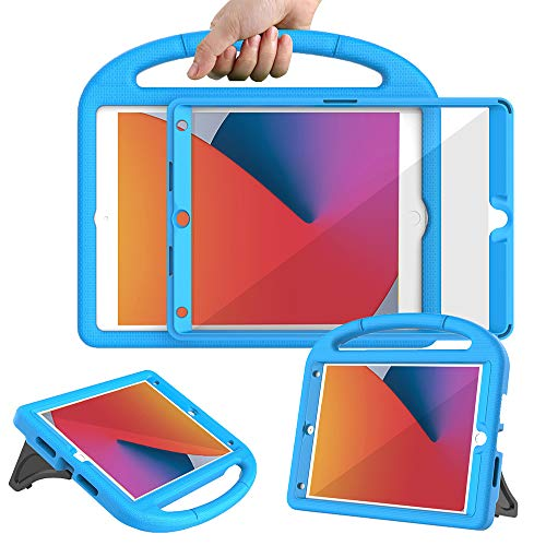 Surom Kids Case with Built-in Screen Protector for New iPad 10.2 Inch 2020/2019 (8th/7th Generation), Light Weight Shock Proof Handle Stand Case for 2020/2019 iPad 10.2, iPad Air 3 10.5 2019, Blue