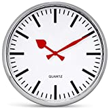 "Bernhard Products Large Wall Clock 13"" Analog Silent Non-Ticking Quartz Battery Operated Round Decorative Modern Design for Home Kitchen Office Classroom, Red Hands"