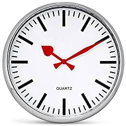 """Large Wall Clock 13"""" Analog Silent Non-Ticking Quartz Battery Operated Round Decorative Modern Design for Home Kitchen Office Classroom, Red Hands"""