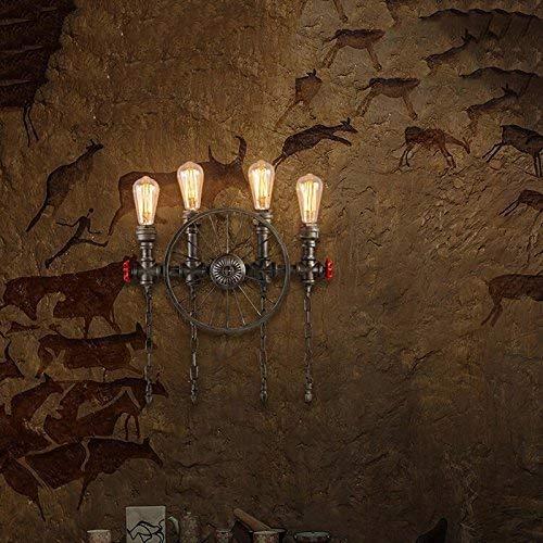 MingXinJia Kopf mit Vier Köpfen Schmiedeeisen Köpfe Rustikale Steampunk Shisha Wandlampen, Wohnzimmer Schlafzimmer Bar Wohnzimmer mit E27 Lichtquelle4 Kopf