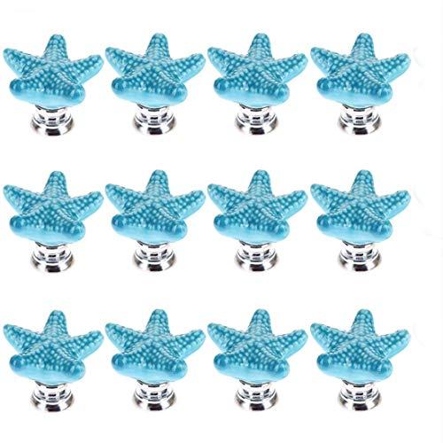 Joyindecor Ceramic Starfish Drawer Pulls Handles for Nursery Dresser Cupboard Wardrobe Cabinet Kitchen, Beach/Ocean Theme Knobs, Pack of 12 (Blue)