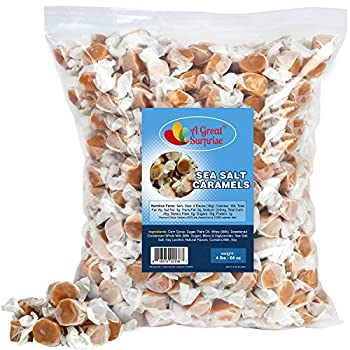 A Great Surprise Sea Salt Caramels - 4 LB - Creamy Individually Wrapped - Bulk Candy