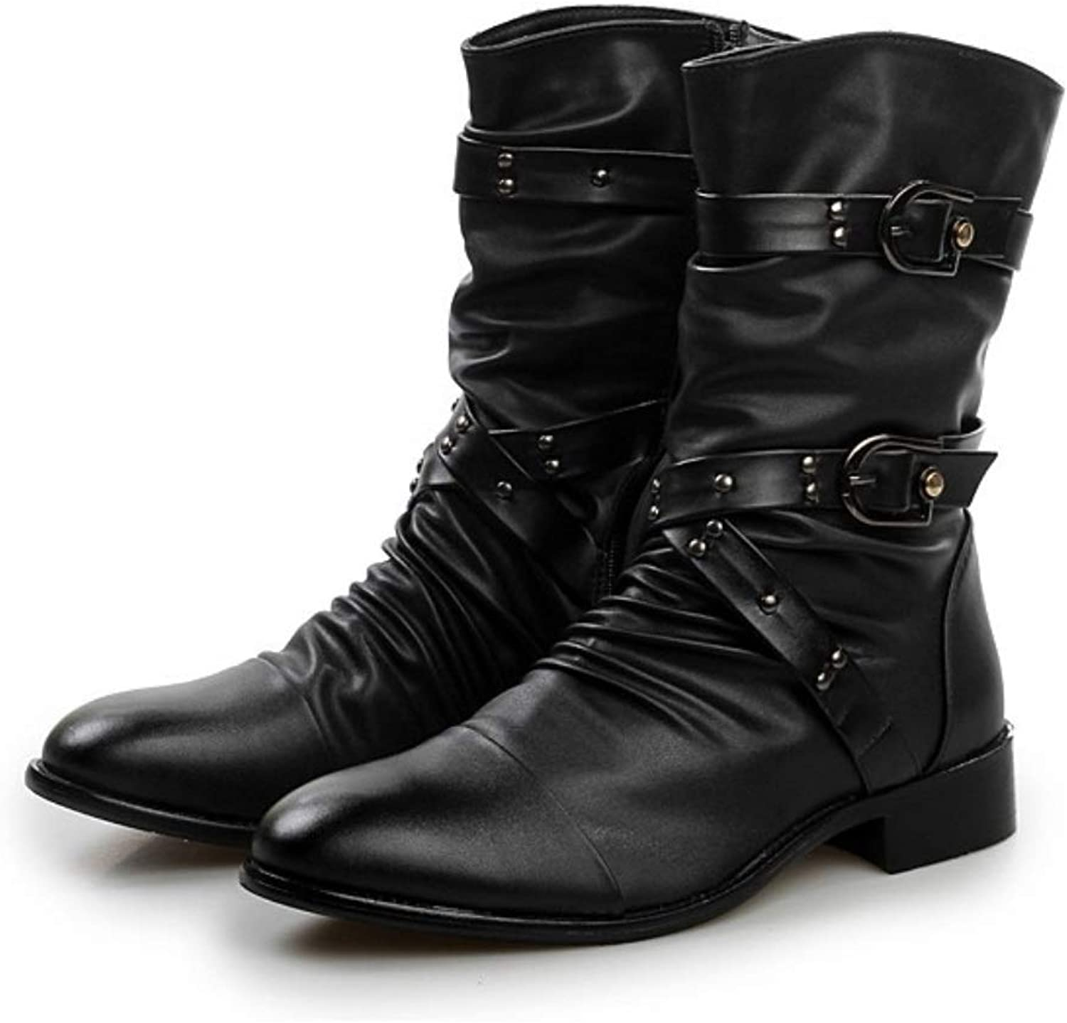 MON5F HOME Men's Boots British Wind Pointed shoes Boots Rivets In The Tube Martin Boots Men's Korean Trends Incrededed Height Of The Elevator (color   Black single lining, Size   39)