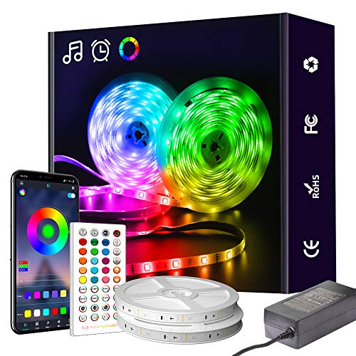 LED Strip Lights, 65.6ft RGB Strip Lights, Led Lights Kit with Remote Color Changing and Music Sync, Light Strips for Home, Party, Bar, Kitchen, DIY Decoration