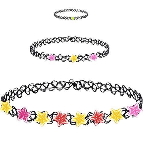 BodyJ4You 3PC Choker Necklace Ring Set Henna Tattoo Stretch Elastic Sea Star Teen Girl Women Fashion