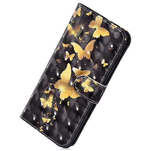 Herbests Coque pour Galaxy Note 10 Plus Housse en Cuir Etui avec Motif Papillon Coque à Rabat Magnétique Ultra Mince Anti Choc Coque de Protection en Cuir Folio Housse,Papillon Doré