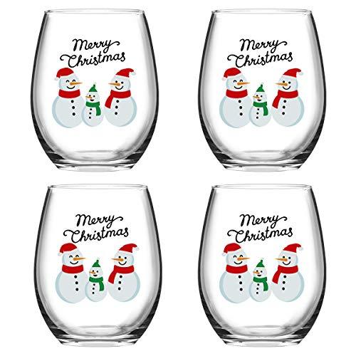 Merry Christmas Snowmen Stemless Wine Glass Set, 15 Oz Funny Stemless Wine Glasses for Women Friends Men, Idea for Christmas Wedding Party, Set of 4