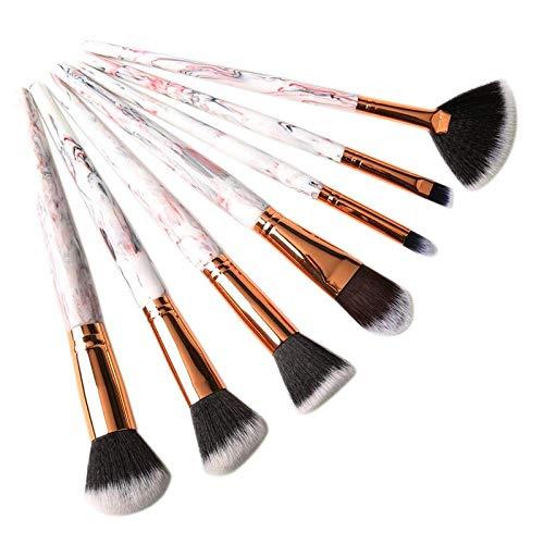GONGFF Kit de brosses de Maquillage Motif décoratif Fard à Joues Fondation Contour Fard à paupières Maquillage Ensemble d'outils, Blanc