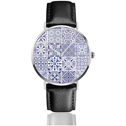 Traditionelle verzierte portugiesische dekorative Fliesen Azulejos-Fliesen-Weinlese-Edelstahl-Lederarmband-Uhren Armbanduhren