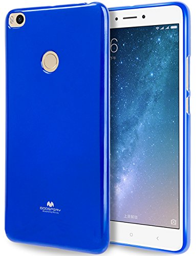 GOOSPERY Marlang Marlang Xiaomi Mi Max 2 Case - Navy Blue, Free Screen Protector [Slim Fit] TPU Case [Flexible] Pearl Jelly [Protection] Bumper Cover for Xiaomi MiMax2, XIAMIMAX2-JEL/SP-NVY