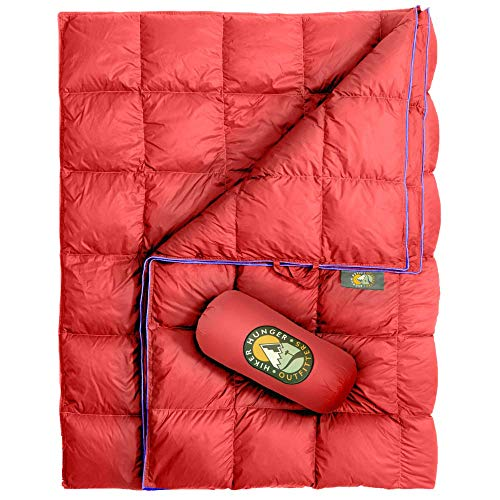 Hiker Hunger Outfitters | Extra Large Double Insulated Outdoor Camping Blanket | Easy to Pack, Waterproof, Durable, Lightweight & Warm | Best for Hiking, Backpacking, Stadium Events, Picnic Use | RED