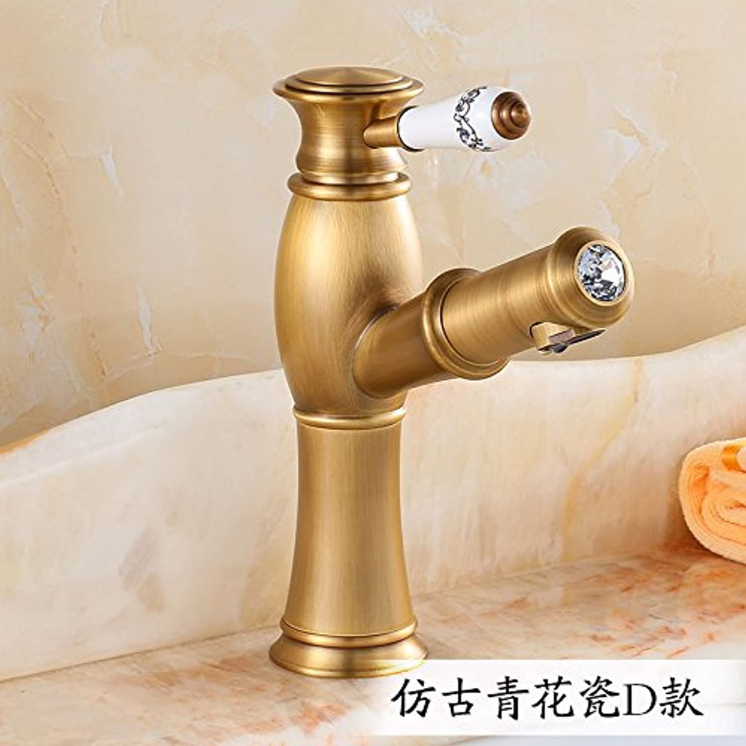 Bijjaladeva Bathroom Sink Vessel Faucet Basin Mixer Tap full bench of copper basin sink vanity area with hot and cold water faucets bathroom faucets wash it scalable to pull faucet