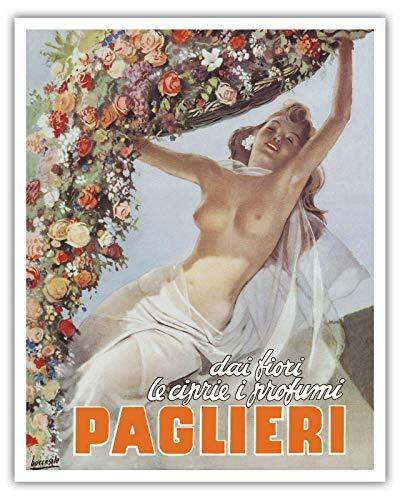 3510 Paglieri Perfumes Mujer Flor Faja Vintage Publicidad Art Poster Print Wall Art Decoración Metal Placa Cartel Cartel Metal Cartel 20 x 30 cm