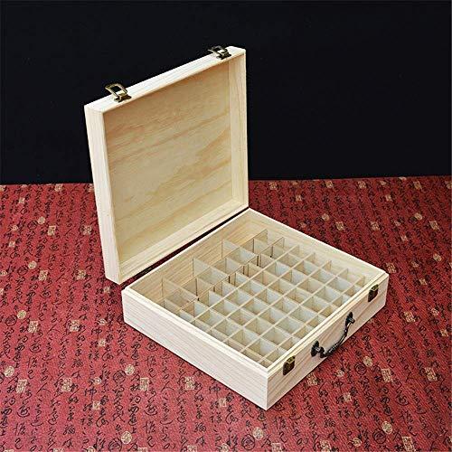 YO-TOKU Makeup Box 66 Slot Houten Essential Oil Storage Box Perfect for op reis en presentatie (Kleur: Zwart, Maat: 31.5X29X10CM) Cosmetische opslag Rack grote capaciteit Professional