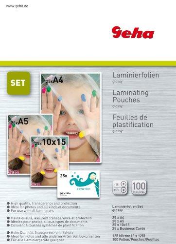 Geha Laminierfolie 125 mic 25er Pack Set A4 A5 A6 V-Card