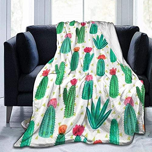 Mantas para sofá cama, manta divertida de cactus, para sala de estar, dormitorio, sofá o sofá de viaje, manta de cama sólida súper mullida para niños y adultos en todas las estaciones de 156 x 150 cm