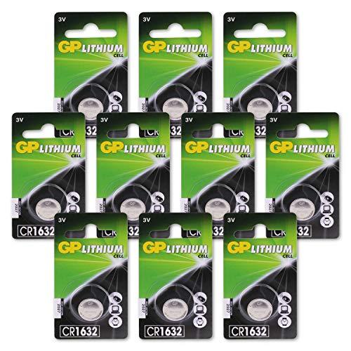 GP Batterien CR1632 3V Lithium Knopfzellen (CR 1632 3 Volt) 10-er Pack Knopfbatterien (einzeln entnehmbar)