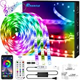 40FT LED Strip Lights,Color Changing Lights Strip Music Sync Bluetooth App Remote Control 5050 RGB LEDs Light with Built-in Mic Smart LED Rope Lights for Bedroom Room TV Party DIY Decoration
