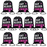 10 Pieces Cheerleading Drawstring Gym Bag Cheer Black Drawstring Bag Eat Sleep Cheer Drawstring Bag Cinch Bags for Youth Girls Boys Kids Sports, 13.4 x 16.9 Inch