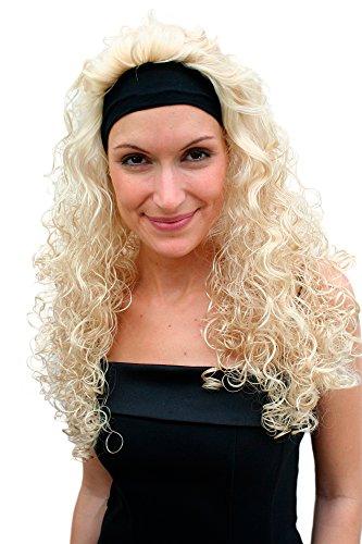 WIG ME UP VK Event Fashion - Perruque & Bandeau Frontal, Blond, Longue, Avec Boucles, Style Vampire, 80'S