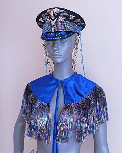 FESTIVAL CAPE coachella shawl festival playa wear burning man outfit rave shrug velvet capelet iridescent holographic fringe bolero