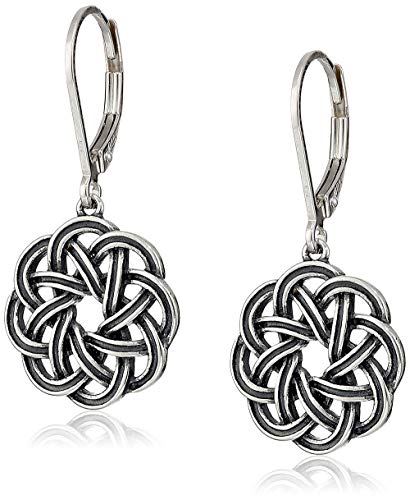 Sterling Silver Oxidized Celtic Knot Leverback Dangle Earrings