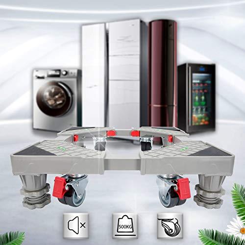 DoNey Waschmaschinen Untergestell Podest verstellbare Sockel (Rot), mit 4 drehbarem Gummi Räder und 4 Höhenverstellbare Füße Stand, Roller Trolley Basis für Trockner, Waschmaschine und Kühlschrank