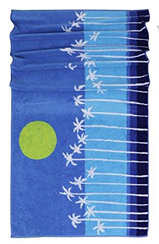 Lashuma playa míkonos | Toalla Palmeras sol | strandlaken | grande Toalla de ducha, 75 x 150 cm, 100 % algodón, azul