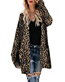 CNFIO Cardigans para Mujer de Manga Larga con Frente Abierto Polar Prendas Chaqueta de Punto Mujer Vestir Abrigo de Leopardo con Bolsillos A-marrón XXL