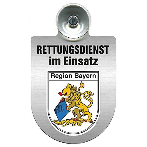 Einsatzschild Windschutzscheibe incl. Saugnapf - Rettungsdienst im Einsatz - incl. Regionen-Wappen nach Wahl - 309354 Farbe Region Bayern