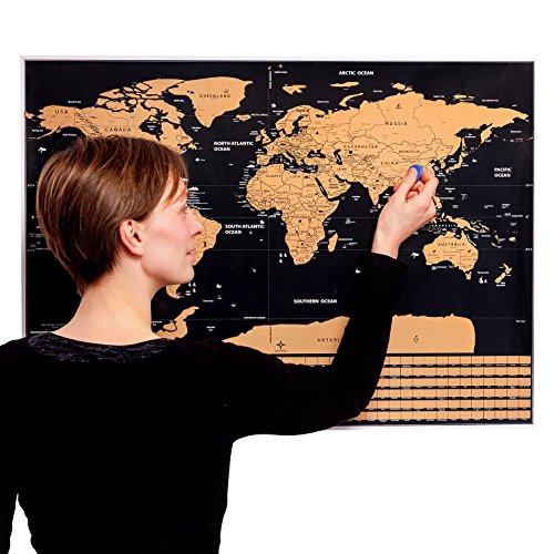 MyGadget Weltkarte zum Rubbeln - Scratch Off Poster [77 x 56 Groß] Wanderlust World Map Länder + Flaggen Rubbelkarte - Welt Reise Landkarte (Schwarz)