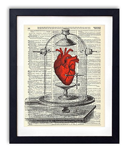 My Heart On Display Vintage Upcycled Dictionary Art Print 8x10 inches, Unframed