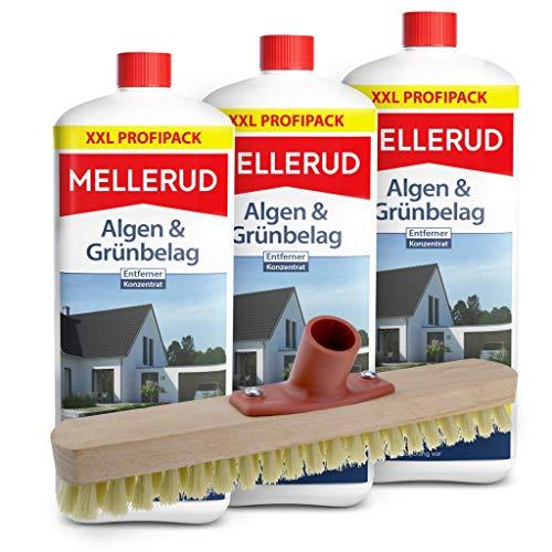 Mellerud 3er Pack Algen und Grünbelag Entferner (3 x 2 Liter) inkl. Schrubber