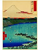 JIUBING Canvas Poster Japanese Old Style Vintage Landscape Mountain River Posters Printed Wall Painting Poster Wall Painting 50 * 70Cm Frameless