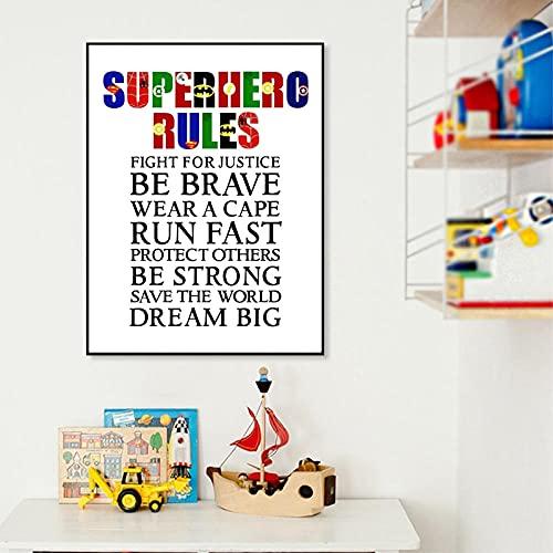 Pintura en lienzo Reglas de superhéroe Póster Impresiones Habitación de niños Arte de la pared Decoración de imagen Arte de superhéroe Decoración de sala de juegos para niños   42x60cm Sin marco