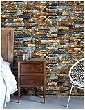 HaokHome 91063-3 Papel Tapiz 3D Ladrillo Adhesivo para Pared Hogar y Cocina Decoracion 0.45mx3m Multicolor