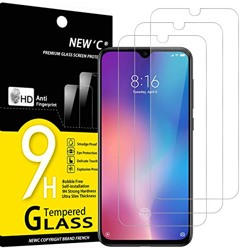 NEW'C 3 Unidades, Protector de Pantalla para Xiaomi Mi 9 SE, Mi Play, Antiarañazos, Antihuellas, Sin Burbujas, Dureza 9H, 0.33 mm Ultra Transparente, Vidrio Templado Ultra Resistente