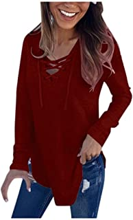 Women's V-Neck Cross Bandage Strap Long Sleeve Pullover Top Loose Casual Solid Color T-Shirt