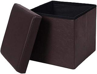 XWHAOB Rangement Ottoman Banc Tabouret Repose-Pieds en Cuir, Cube Pliant Boîte À Jouets Organisateur Boîte Pouf Poitrine S...