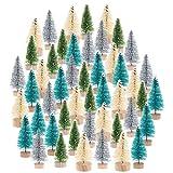 Peerless Mini-Weihnachtsbäume mit Holzsockel, künstliche Sisalbäume, Flaschenbürsten, Bäume...
