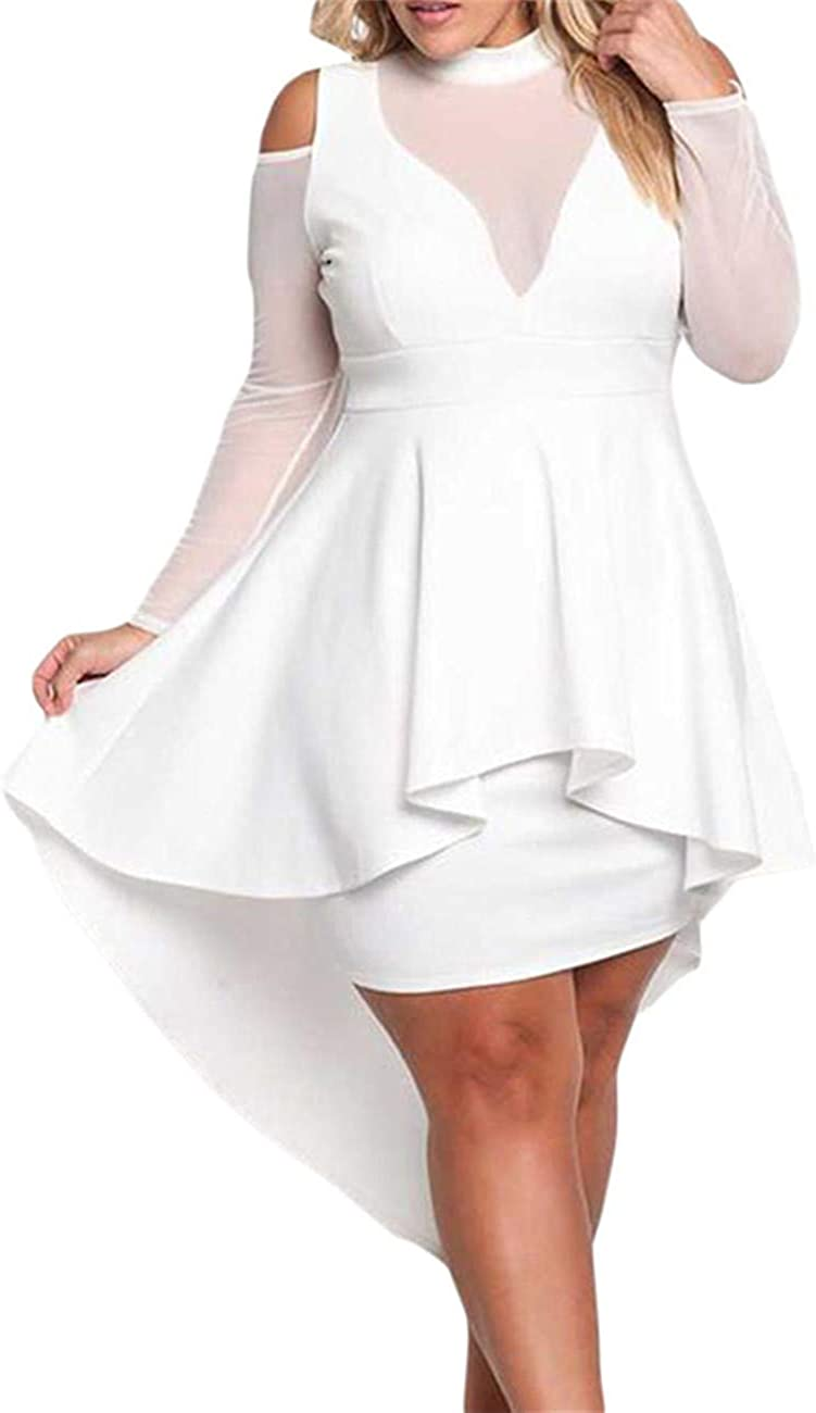 Lrady Women's Sexy Sheer Mesh Evening Gowns Plus Size Peplum High-Low Bodycon Party Dress