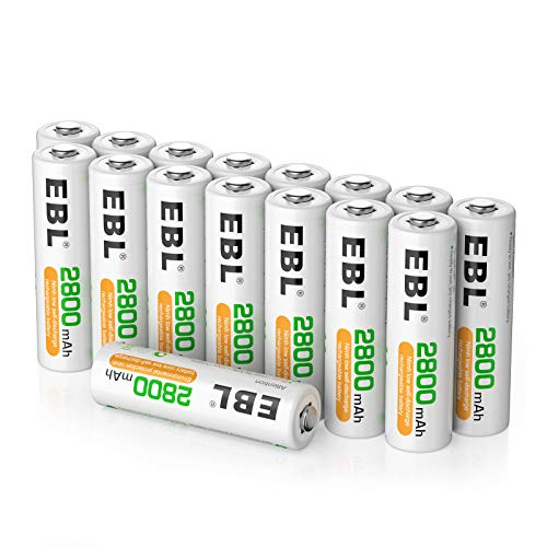 EBL 16PCS Piles AA Rechargeables 2800mAh Ni-MH avec Boîte de Stockage