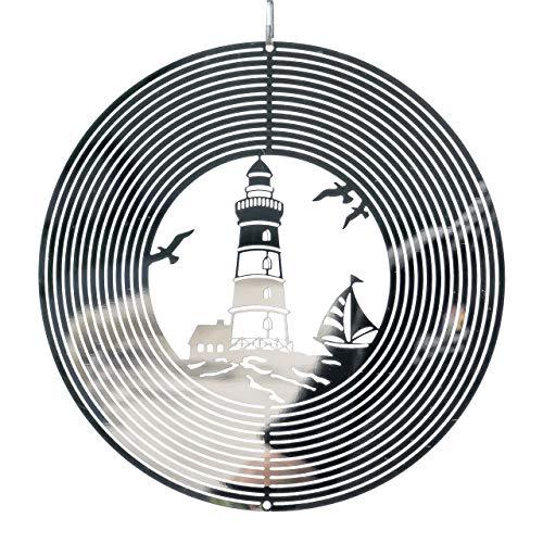 CIM Metall Windspiel – Mirror Lighthouse - 200mm - leichtdrehendes Windmobile - inklusive Aufhängung – attraktive Raum- Fenster und Garten-Dekoration
