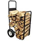 Sunnydaze Firewood Log Cart Carrier - Outdoor or Indoor Black Steel Wood Rack...