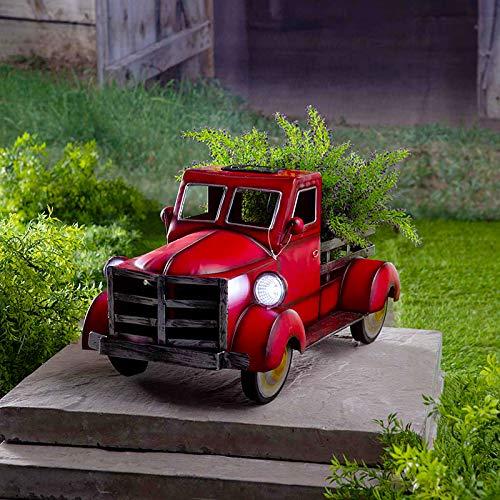 Retro-Stil Solar Pickup Truck Garten Dekoration Desktop dekorative Blumentopf Lagerung kleiner LKW Blumentopf Pflanzer, Pflanzentöpfe Vintage Metall LKW Pflanzer Pflanzer LKW Ladefläche 30cmx18cmx18cm