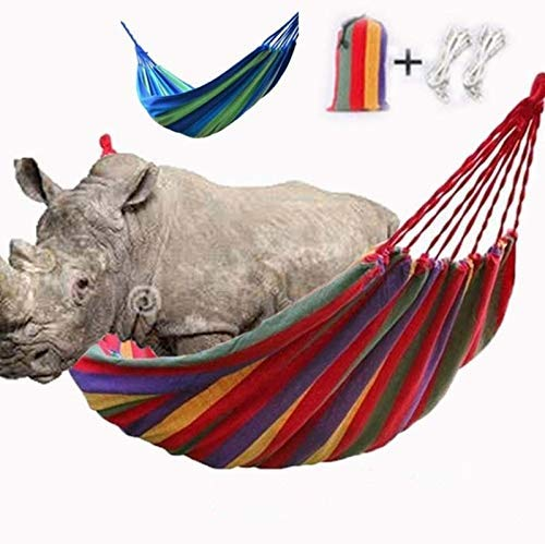Portable Cotton Fabric Canvas Double Hammock,Nylon Rainbow Swing Hammock,Swing Beds Perfect for Camping, Back Yard, Adult & Children,Send Tie Rope and Storage Bag (Red,260 * 150cm) Soul hill