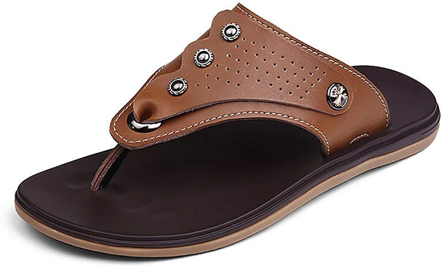 Yingsssq Fashion Genuine Leather Non-slip Flip Flops Slippers Men's Sandals for Everyday Life Beach (color   Brown, Size   41)