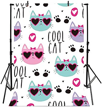 Modern 10x15 FT Photo Backdrops,Cat Scratching The Wall Cute Animal Fun Kitty Pet Humor Artistic Illustration Background for Baby Shower Birthday Wedding Bridal Shower Party Decoration Photo Studio