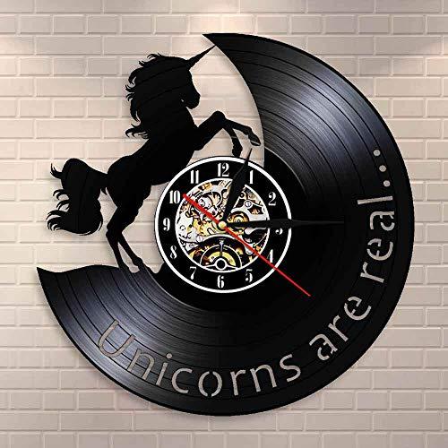Regalos para Hombres Los Unicornios Son Reales Cita Divertida del Unicornio Reloj de Pared Moderno Reloj de Pared de Vinilo Vintage Reloj de Pared